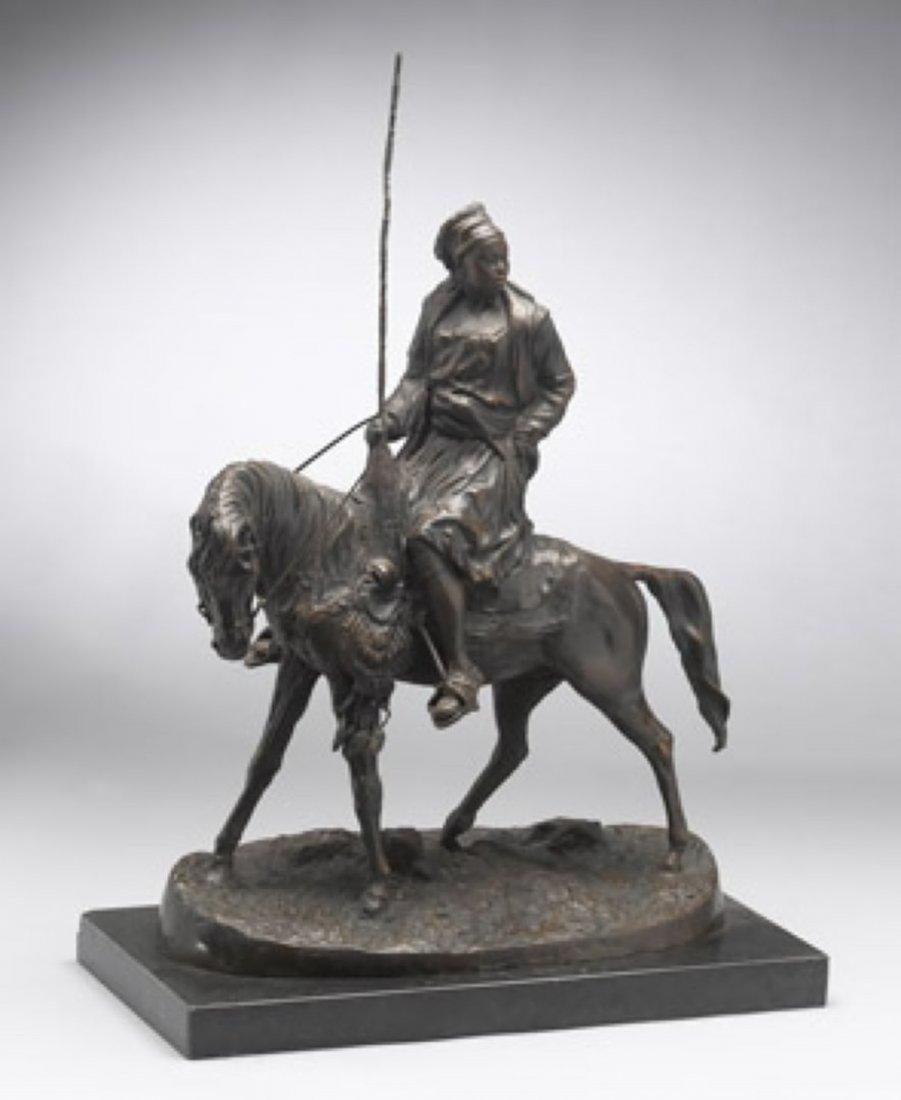 1B: LADY ON HORSE - BRONZE SCULPTURE