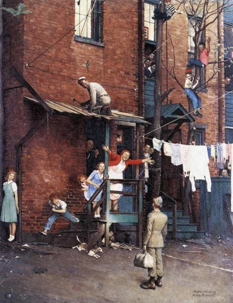 """1G: NORMAN ROCKWELL  """"HOMECOMING G.I."""" ON CANVAS"""