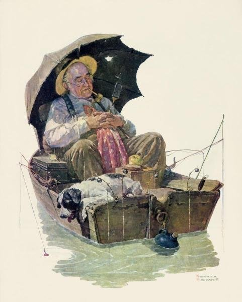 """547G: NORMAN ROCKWELL  """"GONE FISHING"""" ON CANVAS"""