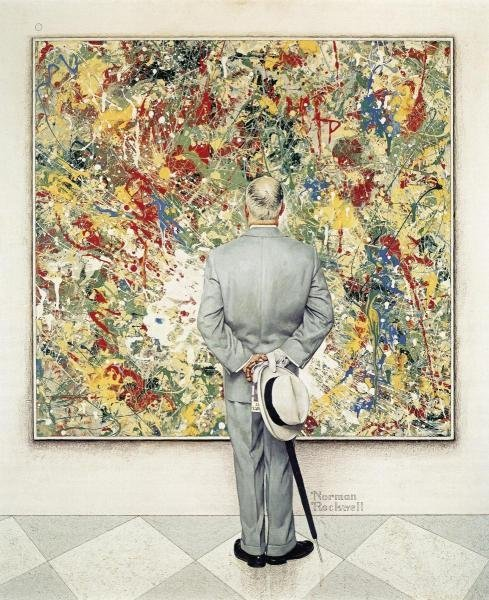 """1041G: NORMAN ROCKWELL  """"THE CONNOISSEUR"""" ON CANVAS"""