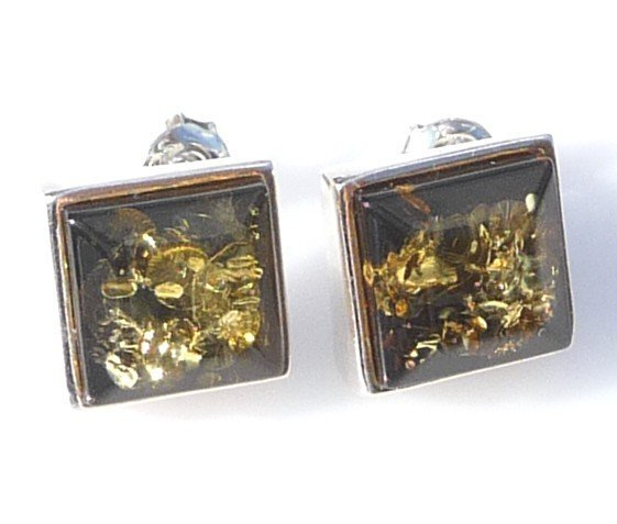 1F: GOLDEN GREEN AMBER EARRINGS