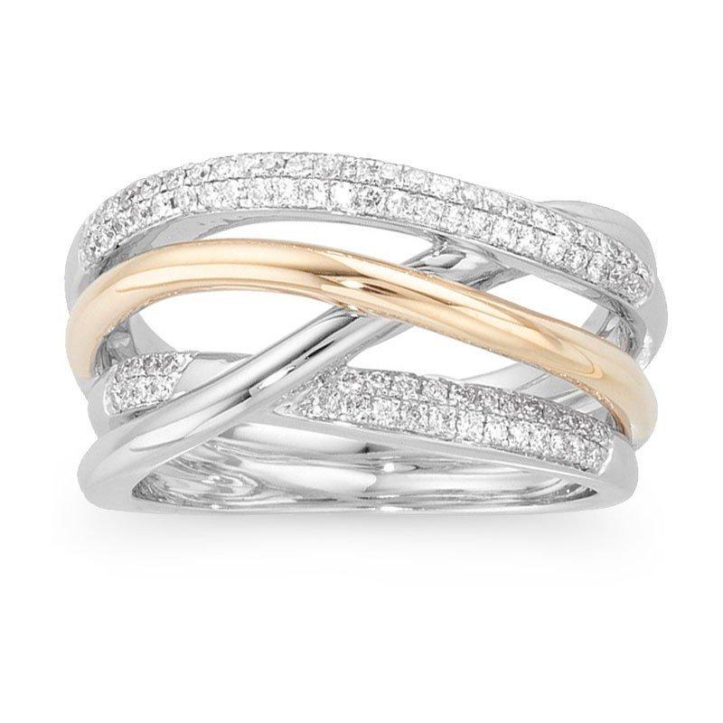 13F: INTERWOVEN YELLOW AND WHITE GOLD DIAMOND BAND