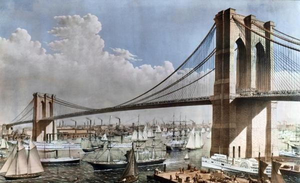 1G: GREAT EAST RIVER SUSPENSION BRIDGE NYC, BROOKLYN, 1