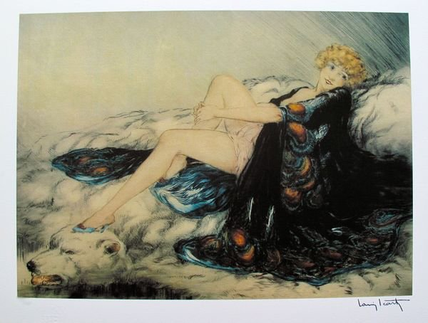 9T: LOUIS ICART SILK ROBE LIMITED ED. GICLEE