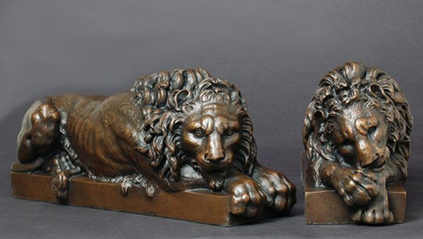 """1A: """"LIONS BOOKENDS"""" AFTER ANTONIO CANOVA"""