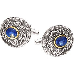 15F: LAPIS CUFFLINKS IN 14KT GOLD AND STERLING SILVER