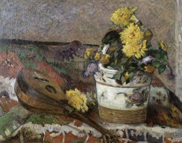 "78G: PAUL GAUGUIN  ""MANDOLIN AND VASE OF FLOWERS"""