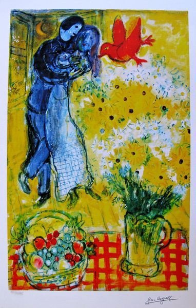 63T: MARC CHAGALL LOVERS AND DAISIES LIMITED ED. SMALL