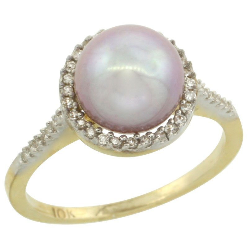 64C: 14K GOLD HALO ENGAGEMENT 8.5 MM PINK PEARL RING