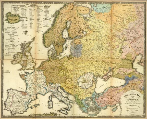 """61G: HEINRICH BERGHAUS  """"ETHNOGRAPHISCHE KARTE VON EURO"""