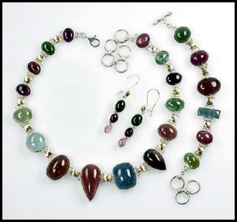 43D: TOURMALINE NECKLACE, BRACELET AND EARRINGS, STERLI