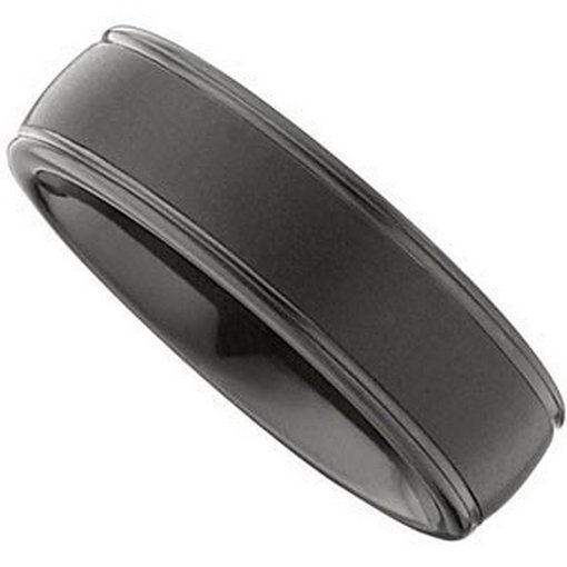 79F: BLACK TUNGSTEN RIDGED DOMED BAND