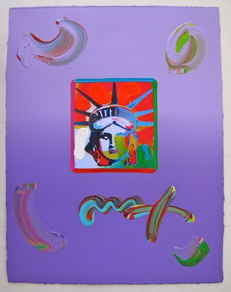 81T: PETER MAX LIBERTY HEAD HAND SIGNED ORIGINAL MIXED