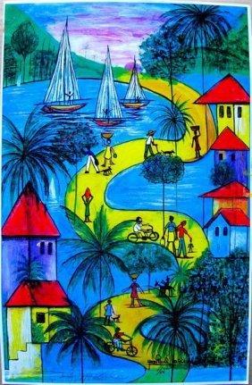 JEAN PAUL HAITIAN ART HAITIAN SUNDAY HAND SIGNED