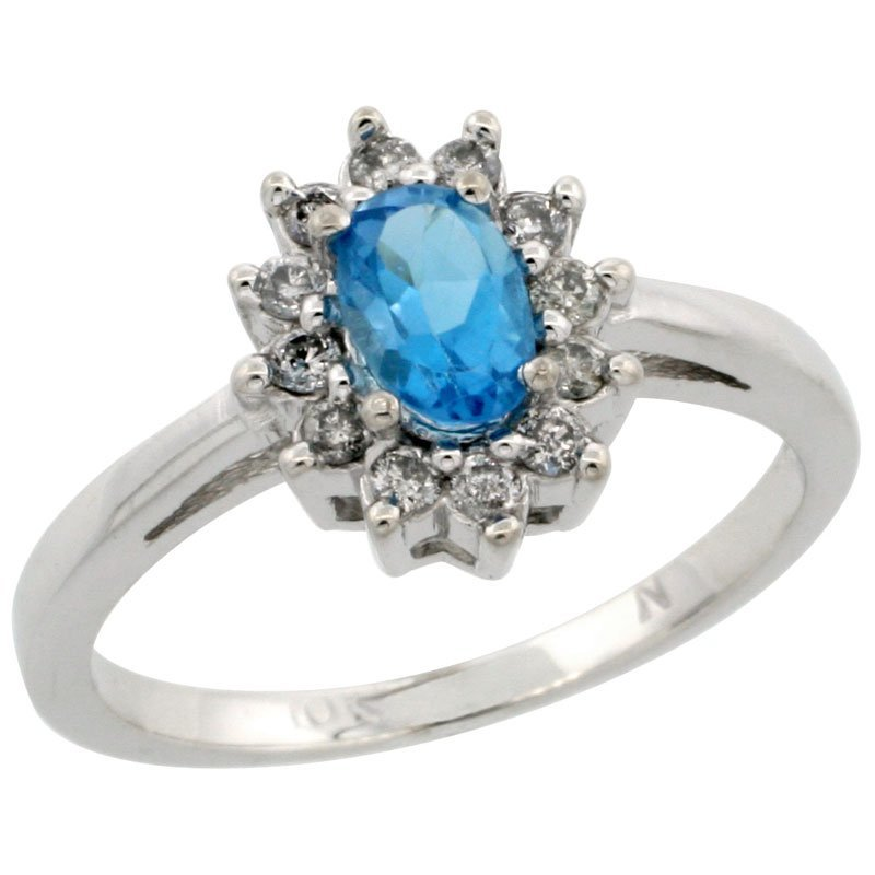 4C: 14K WHITE GOLD  HALO HALO ENGAGEMENT SWISS BLUE TOP