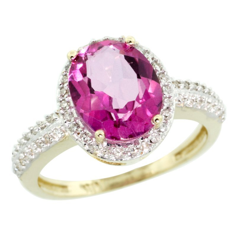 7C: 14K GOLD  HALO ENGAGEMENT PINK TOPAZ RING