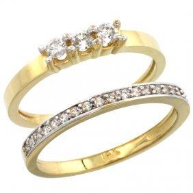 14K GOLD 2-PC. DIAMOND ENGAGEMENT RING SET