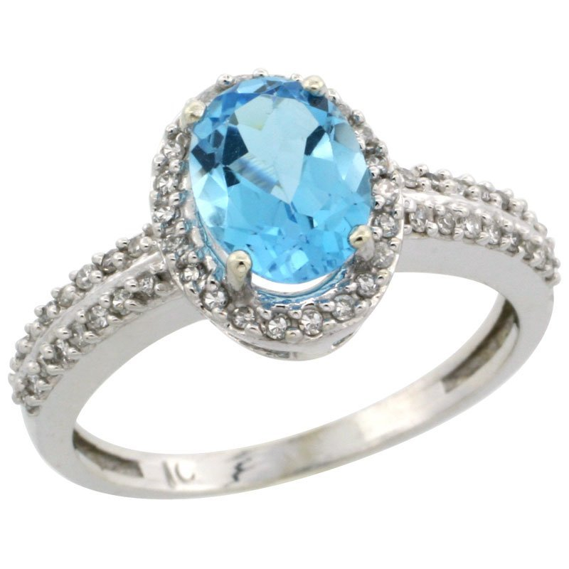 76C: 14K WHITE GOLD  HALO ENGAGEMENT SWISS BLUE TOPAZ R
