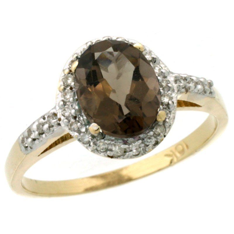 82C: 10K GOLD  HALO ENGAGEMENT SMOKY TOPAZ RING