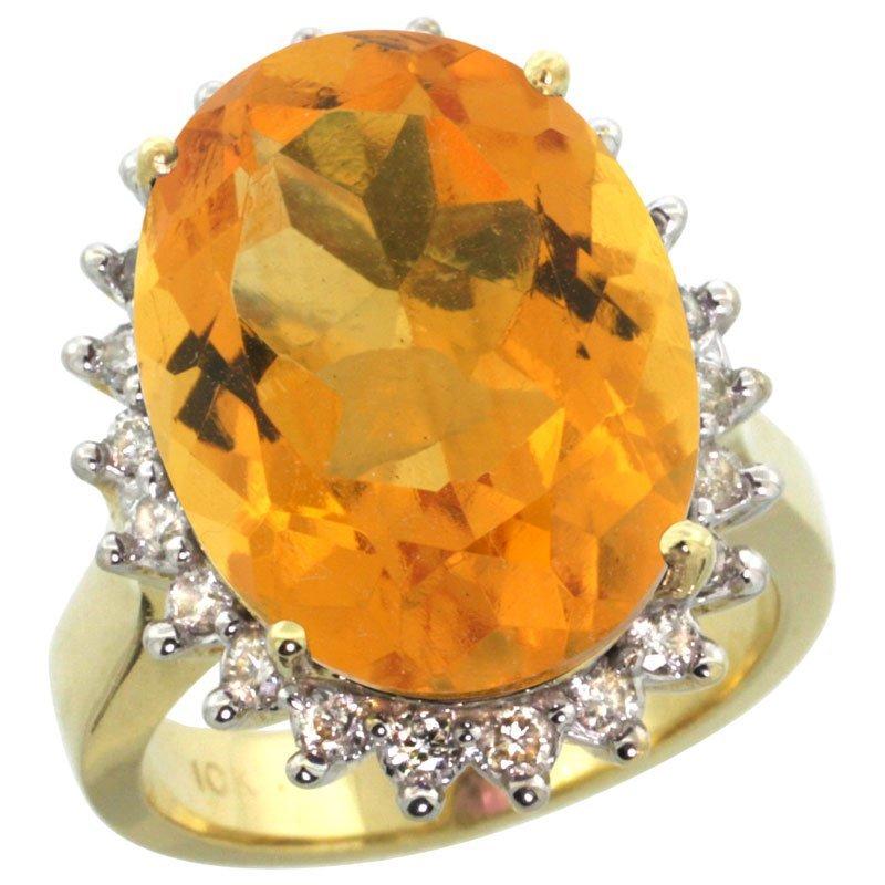 463C: 14K GOLD  LARGE HALO ENGAGEMENT CITRINE RING