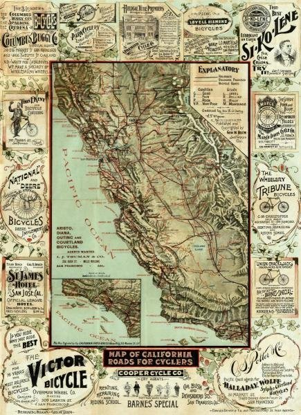 "93G: GEORGE W. BLUM  ""MAP OF CALIFORNIA ROADS FOR CYCLE"
