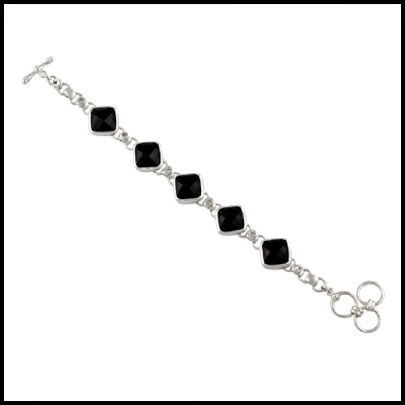 85D: ONYX AND WHITE TOPAZ BRACELET, STERLING SILVER