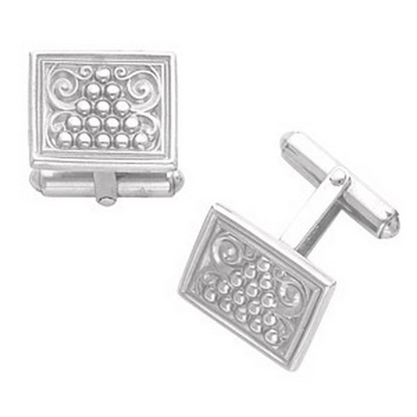 1F: STERLING SILVER ANTIQUE PATTERNED CUFFLINKS