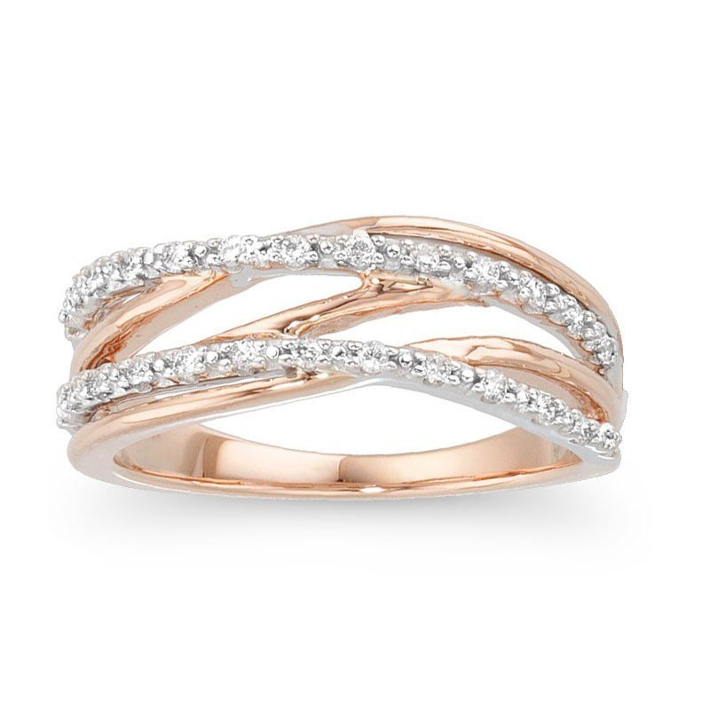 7F: 14KT ROSE AND WHITE GOLD DIAMOND BAND