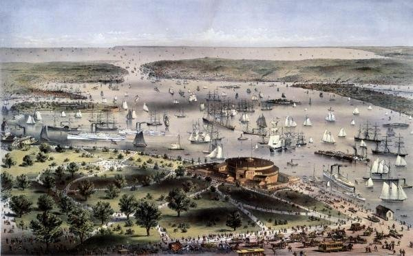 "13G: CURRIER AND IVES  ""PORT OF NEW YORK BIRD'S EYE VIE"