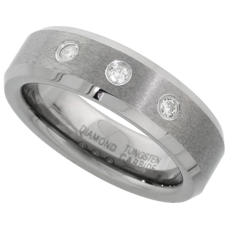 1C: Tungsten Carbide 6 mm Diamond Wedding Band Ring For