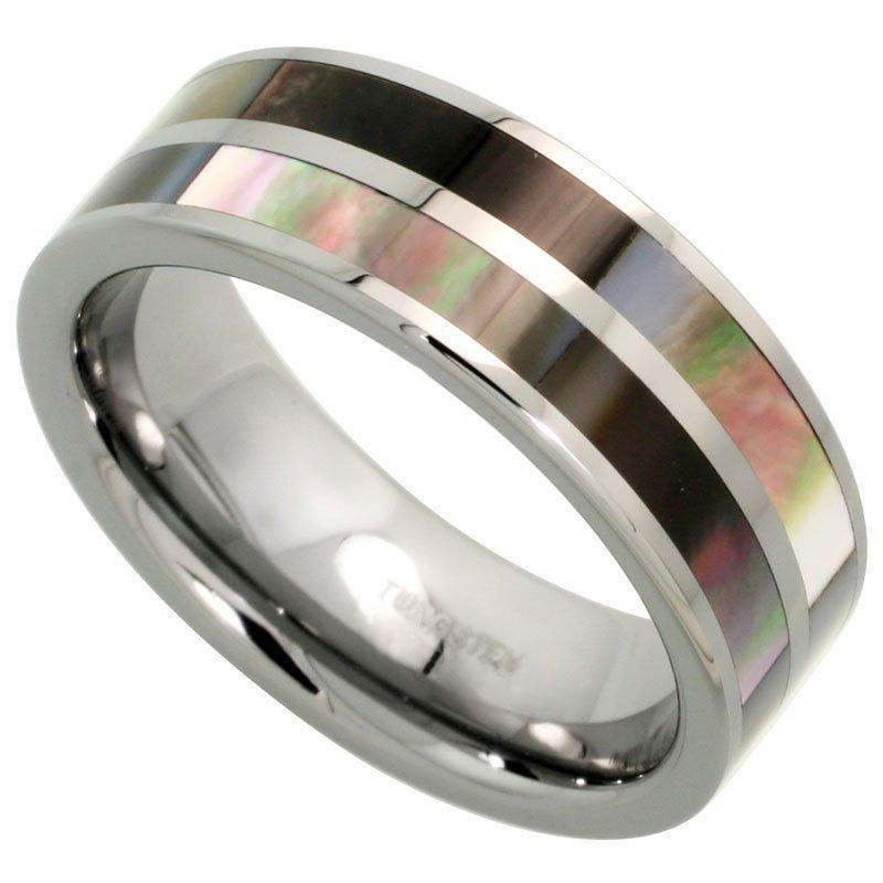 1C: Tungsten Carbide 8 mm Flat Wedding Band Ring Inlaid