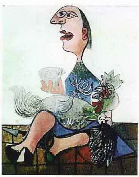 1T: #124 WOMAN WITH ROOSTER PICASSO ESTATE SIGNED GIC