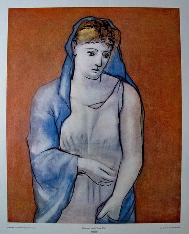 17T: PABLO PICASSO WOMAN WITH BLUE VEIL PLATE SIGNED L