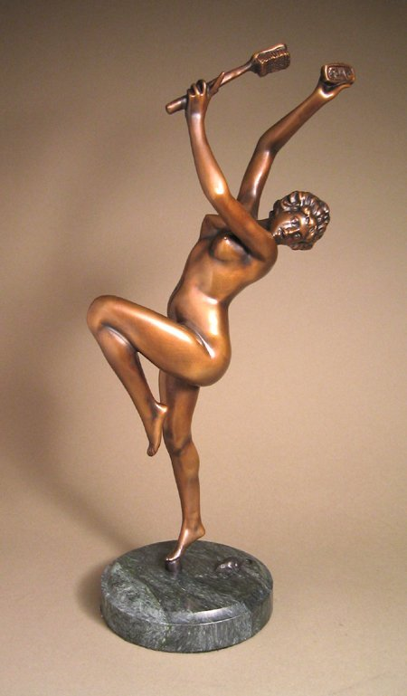 1A: GIRL IN SHOWER WITH MOUSE - BRONZE SCULPTURE