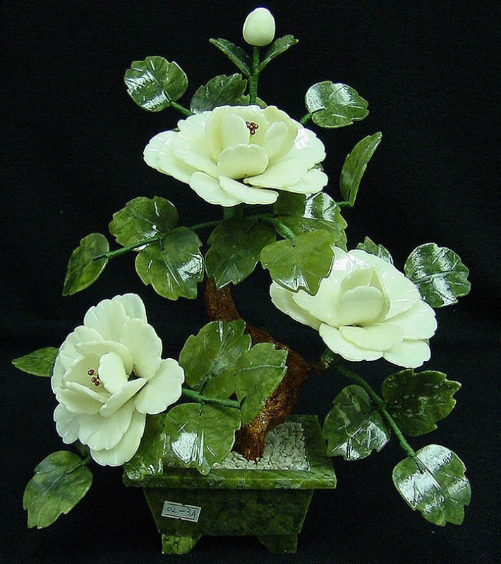13J: REAL WHITE JADE BONSAI FLOWER