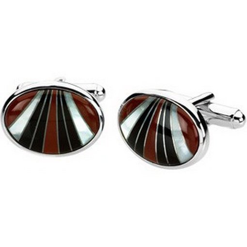 13F: CARNELIAN, ONYX, AND MOTHER OF PEARL CUFFLINKS