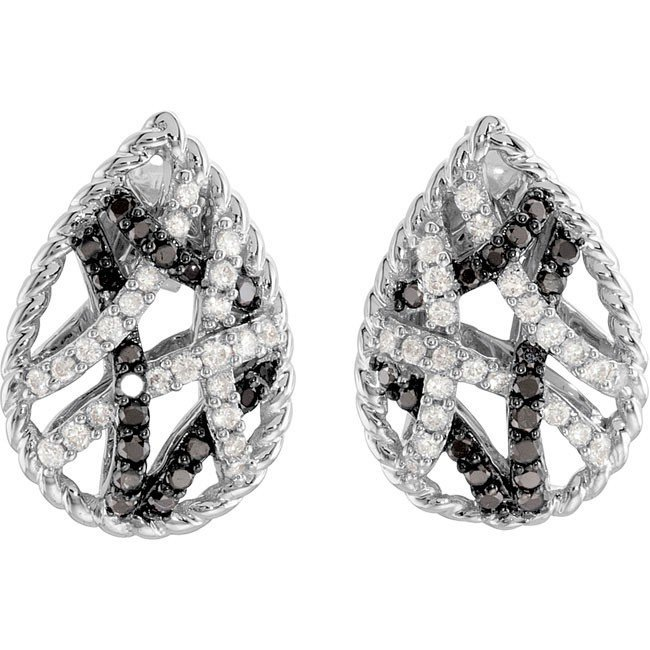 17F: BLACK AND WHITE DIAMOND EARRINGS