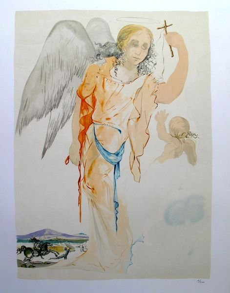 8T: SALVADOR DALI ANGEL WITH CROSS LIMITED EDITION LITH