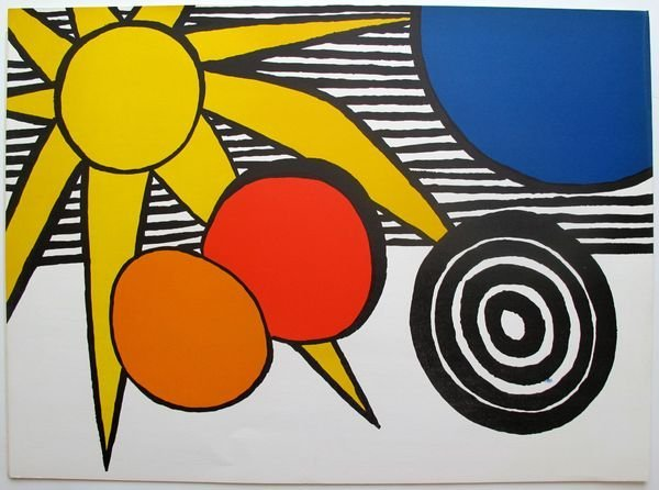 10T: ALEXANDER CALDER SUN WITH PLANETS 1973 LITHOGRAPH
