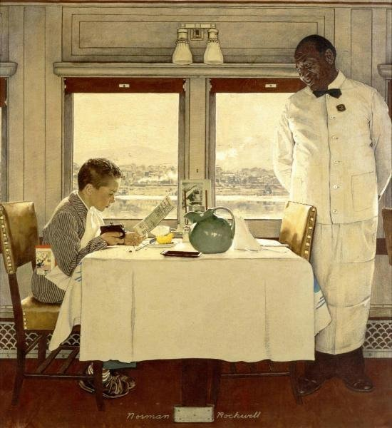 """19G: NORMAN ROCKWELL  """"BOY IN A DINING CAR"""""""