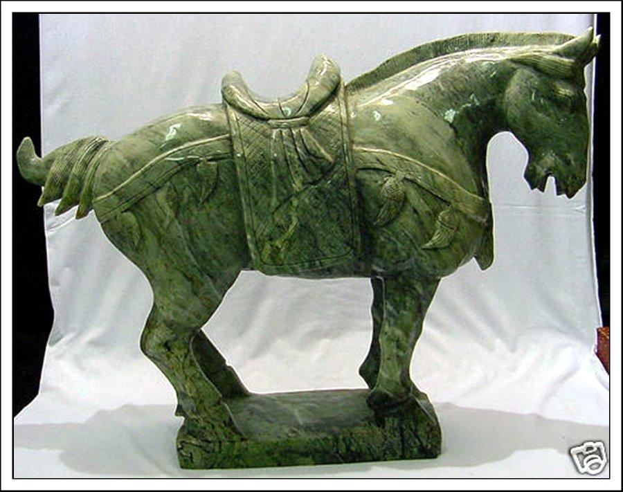 8J: LARGE JADE SADDLED TANG HORSE