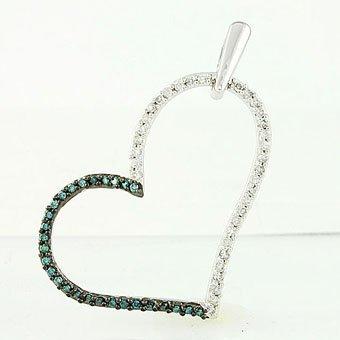 1081L: BLUE DIAMOND FANCY HEART PENDANT
