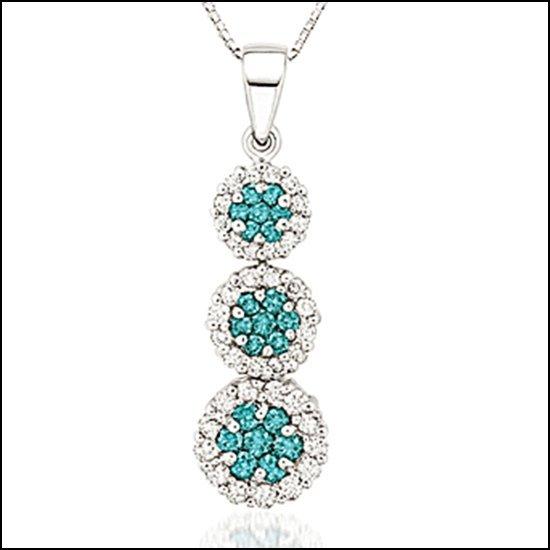1L: 14K - BLUE DIAMOND LADIES PENDANT
