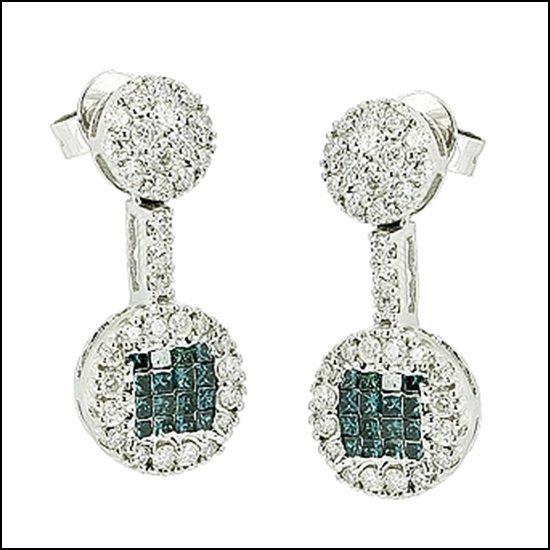 9L: 14K GOLD - PRINCESS CUT BLUE DIAMOND EARRINGS