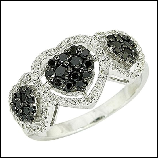 13L: 14K - BLACK DIAMOND HEART RING