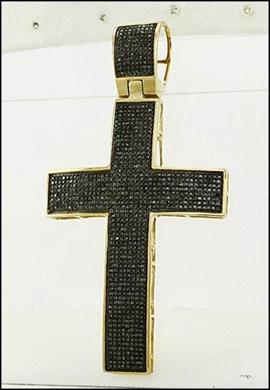 876L: 10K GOLD - MICRO PAVE BLACK DIAMOND CROSS