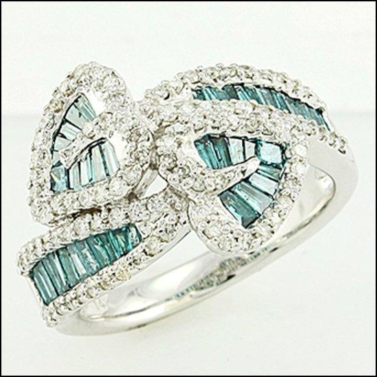 5L: 14K GOLD - BAGUETTES CUT BLUE DIAMOND RING