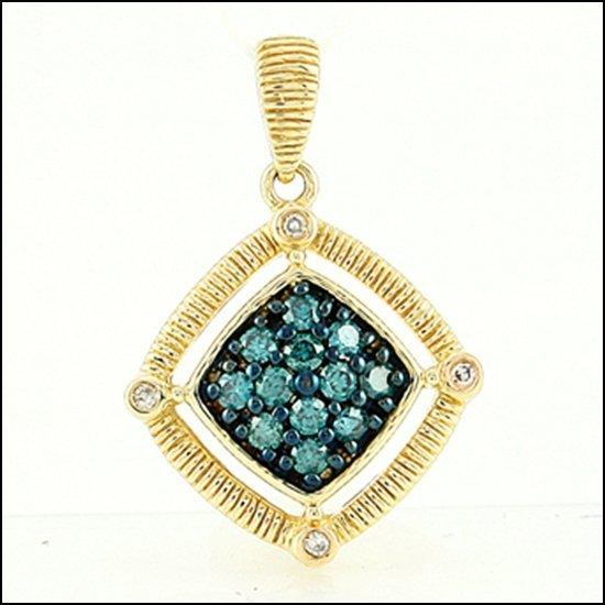 13L: 14K - BLUE DIAMOND PENDANT
