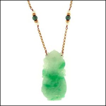 1K: NATURAL GREEN JADE NECKLACE