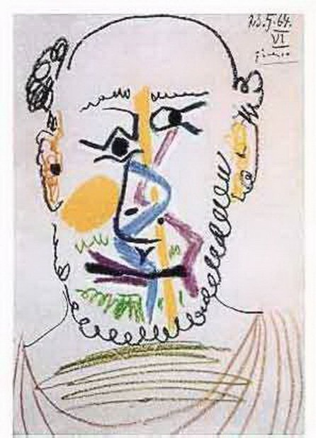 11T: #145 HALF BALD MAN WITH BEARD PICASSO ESTATE SIGN